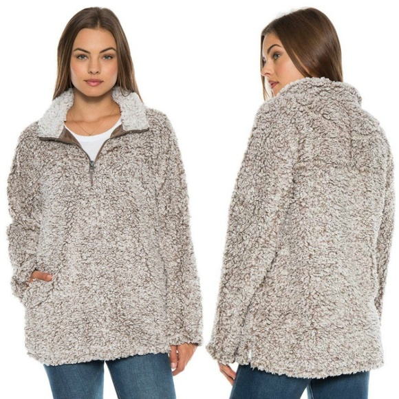 80006bc50 DYLAN True Grit Frosty Tipped Brown Sherpa Sweater